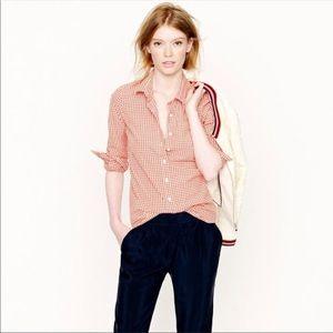 [J. Crew] The Perfect Shirt Orange Gingham Plaid
